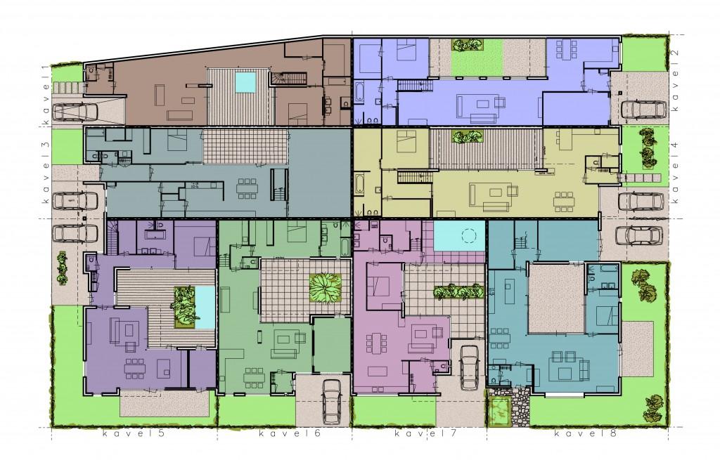 begane grond plattegrond van de 8 woningen.
